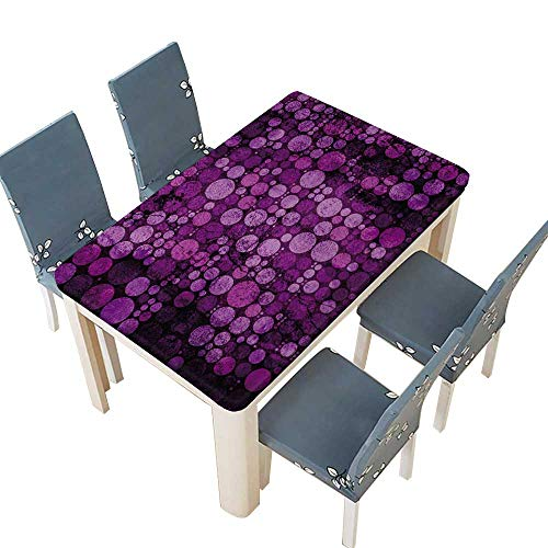 (PINAFORE Indoor and Outdoor Tablecloth Violet Papier texturé Transparent Polka dots modèle Liquid Spills Bead up W29.5 x L69 INCH (Elastic Edge))