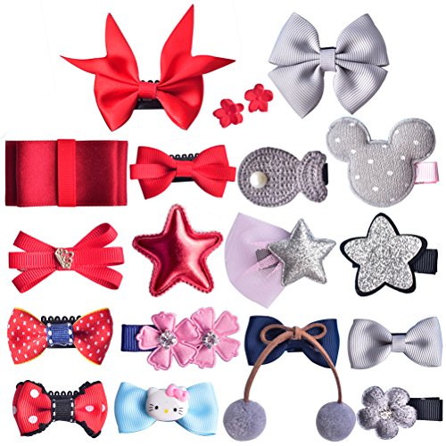 Barrettes for Girls Yazer Boutique Unique Mix Style Bow-knot Hair Clip Set with Elegant Gift bags for Baby Girls Kids Toddlers (10Gray&9Red)