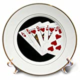 3dRose Alexis Photo-Art - Poker Hands - Poker Hands Royal Flush Hearts - 8 inch Porcelain Plate (cp_270299_1)