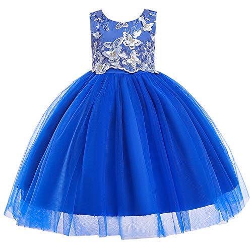 Kids Easter Christmas Birthday Pageant Party Wedding Formal Dresses for Toddler Girls Size 9 10 Years Tulle Ball Gown Daddy Daughter Dance Flower Girl Dress (Blue, 150)]()