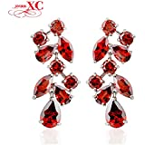 GDSHOP Fashion Jewelry brincos pendientes Ruby Red Women Dangle Drop Earrings 10KT White Gold Filled Zircon Wedding...