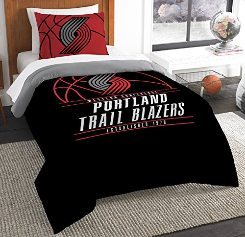 Officially Licensed NBA Portland Trail Blazers Reverse Slam Twin Comforter and Sham
