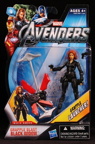 Marvel Avengers Movie 4 Inch Action Figure Grapple Blast Black Widow Grapple Launcher!