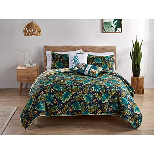 - MISC Green Blue Tropical Bedding King Quilt Set Beach Theme Bed Palm Tree Leaf Pattern Lake House Floral, Polyester