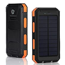 The Arno Solar Charger 10000mAh Power Bank Waterproof Portable Solar Panel Energy Built in compass Dual USB Port With LED Flashlight for iPhone iPad,GPS, Android Smart Phones (Orange)