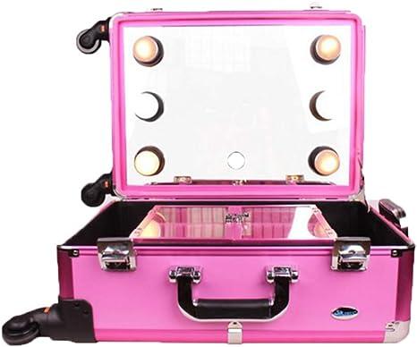 Jumor Maleta Maquillaje Profesional Estuche De Maquillaje De Aluminio Maletín De Cosméticos con Espejo Y 6 Bombillas De Luces LED: Amazon.es: Deportes y aire libre