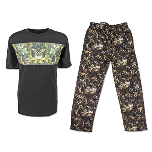 North 15 Mens Hunting Print T-Shirt and Cotton Printed Flannel Pants Pajama Set-93A-BlK/Grn-XL Black/Camo