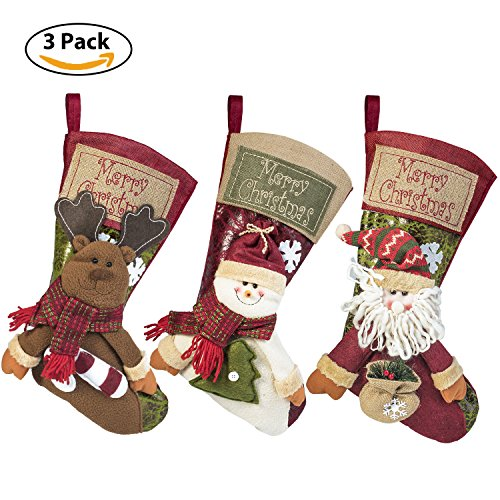 3 PCS Set Christmas Stockings, 18'' Xmas Stockings Hanging, 3D Santa Claus/Snowman/Reindeer Character Santa Gifts Socks Party Favors Decorative Hanging - Christmas Stockings