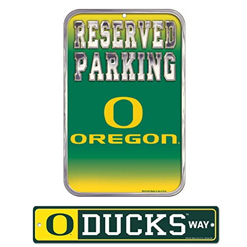 WinCraft Bundle - 2 items: University of Oregon Plastic Street Sign and Reserved Parking Sign