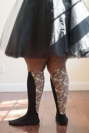 b0507d8dcf Xpandasox Women's Lymphedema Cotton Blend Leopard Knee High Socks Size 7-9  Fits Shoe Size