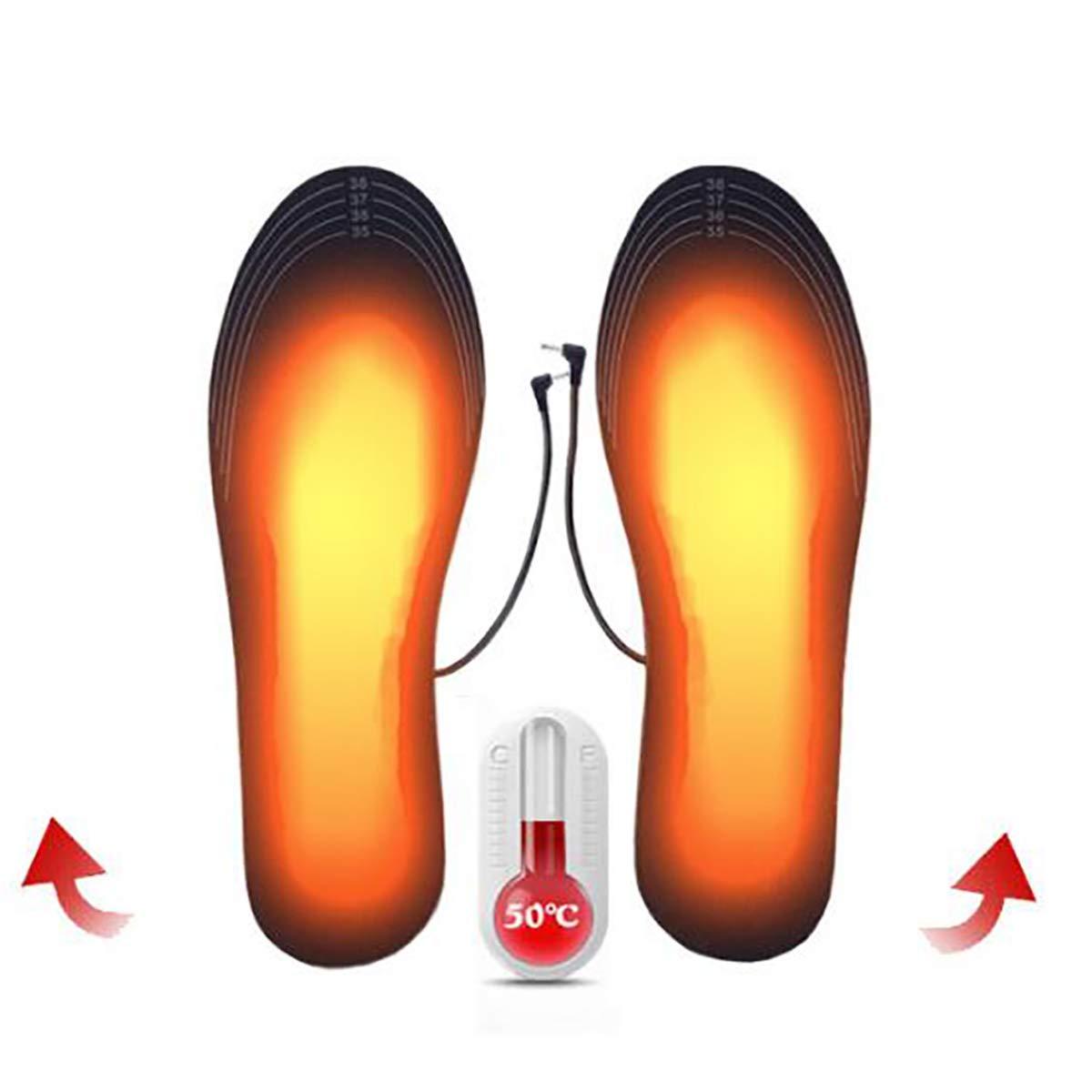 Plantillas Calefactables Thermosoles con Cable USB para Mujeres Hombres Invierno Climatizada Plantillas para Zapatos Varios tama/ños Calentadores de Pies se Puede Cortar y Lavable 2 Pares