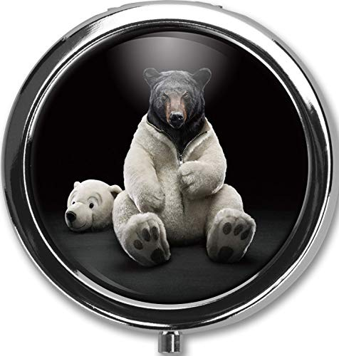 Camouflaged Bear Design New Silver Round Pill Box Decorative Metal Medicine Vitamin Organizer Unique Gift