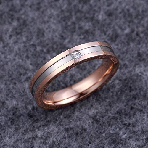 Dec.bells Silver Rose Gold Two Tone Stainless Steel Promise Ring Band Small Ring for Her (Size 5) by Dec.bells (Image #4)