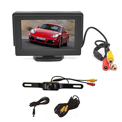 PCP® 4.3 Inch Color LCD TFT Rearview Monitor screen with License Plate Car Backup Camera ()