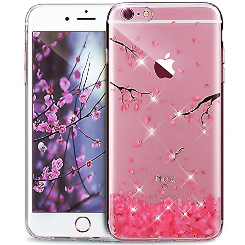 iPhone 7 Plus Case,7 Plus Cover,ikasus Cherry Blossom Handmade Glitter Bling Crystal Rhinestone Diamonds Silicone Bumper Rubber TPU Case Clear Soft Fl…