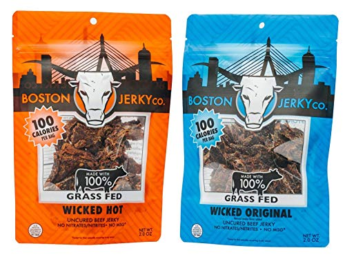 Boston Jerky 100% Grass Fed Beef Jerky | Premium Meat Snack with 14 Grams of Protein | Nitrate and MSG Free (Mixed, 2 Pack)