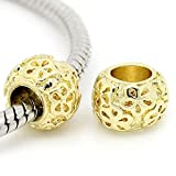 Two(2) Gold Tone Round Bead Charm Spacer Bead for Snake Chain Charm Bracelet