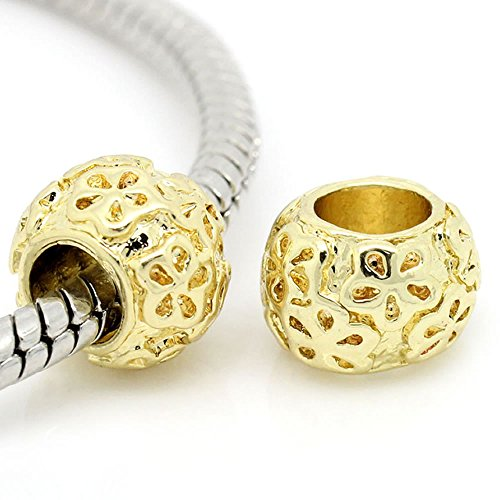 Two(2) Gold Tone Round Bead Charm Spacer Bead for Snake Chain Charm (Gold Tone Bead Bracelet)