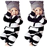 Newborn Baby Girls Boys Clothes Long Sleeve Striped Bodysuit Rompers Outfits Set