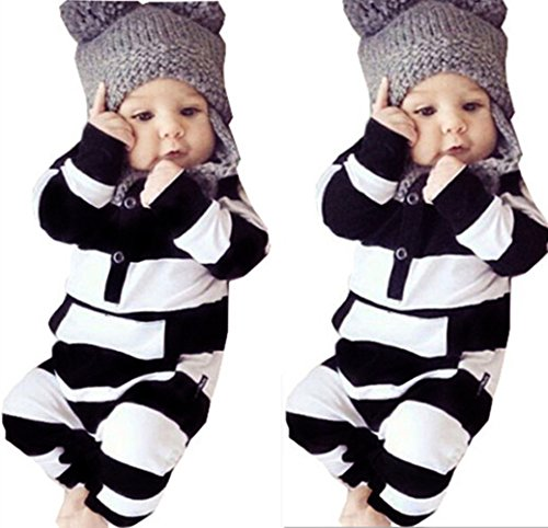 Newborn Baby Girls Boys Clothes Long Sleeve Striped Bodysuit Rompers Outfits Set (6-12M, Striped) ()