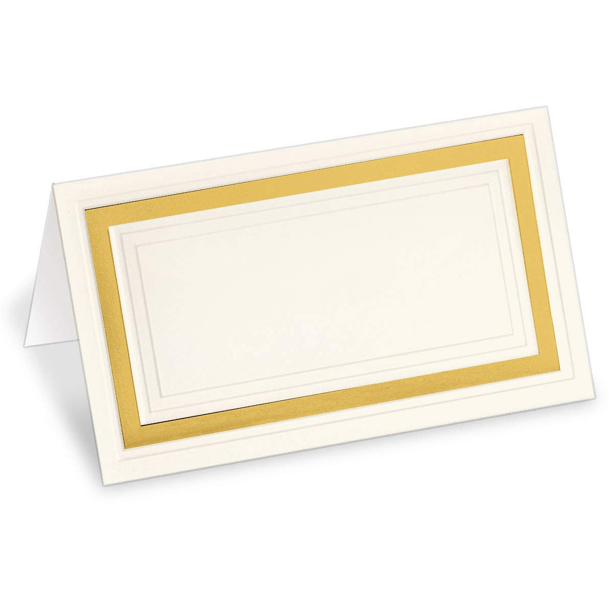 PaperDirect Cream 38lb Cover Stock Folded Place Cards with Gold Foil Border, Micro-Perforated, 2'' x 3 1/2'', 100/Pack, Laser and Inkjet Compatible by PaperDirect