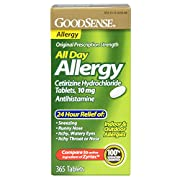 Good Sense All Day Allergy Cetirizine Hydrochloride Tablets, 10 mg temporarily relieves these symptoms due to hay fever or other upper respiratory allergies: runny nose; sneezing; itchy, watery eyes; itching of the nose or throat. Compare to the acti...