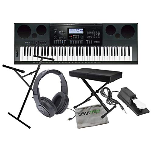 Casio WK7600 Workstation Keyboard w/ Bench, Stand, Sustain Pedal, and Headphones