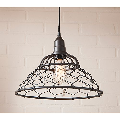 Egg Basket Wire Cage Pendant in Smokey Black