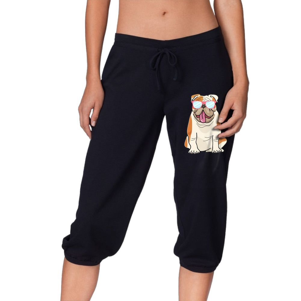 DJ5HN Bulldog With Sunglasses Women Knee Pants Casual 3/4 Jersey Drawstring Pants