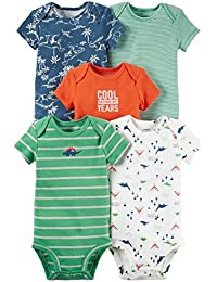 Baby Boys 5 Pack Bodysuits (Baby) - Dinosaurs Mix 9M