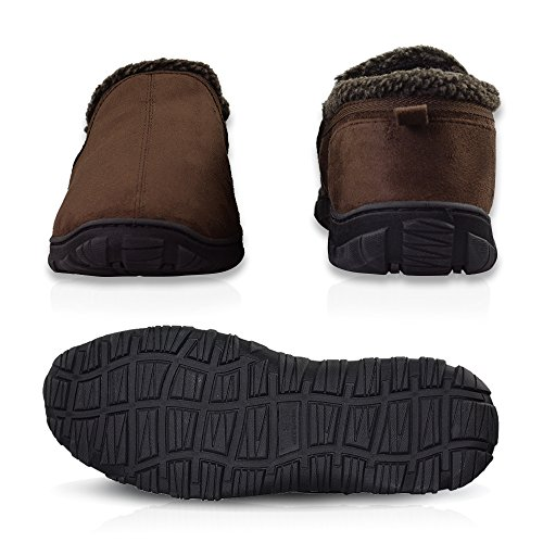 LA PLAGE Men's Anti-Slip Indoor/Outdoor House Slippers with Hardsole Size 11 US Brown by LA PLAGE (Image #3)
