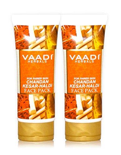 Chandan Kesar Халди Справедливость маску - Травяные лица Pack - Все природные - парабенов бесплатно - сульфат Free - Подходит для мужчин и женщин - хорошо для всех типов кожи (жирной, светящийся, сухой, нормальной, комбинированной чувствительной) - стоимо