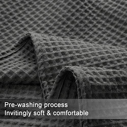 PHF Cotton Waffle Weave Blankets King Size Soft Cozy Lightweight for Bed Couch Sofa Charcoal