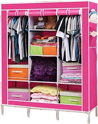 Shree Shyam Kripa_FOLDING WARDROBE ALMIRAH NON WOVEN FABRIC A-2 LIGHT AND TRENDY Pink Color Drying Racks at amazon
