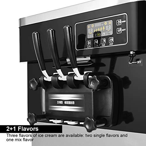 COSTWAY Ice Cream Machine Commercial Automatic 2200W 20-28L/5.3-7.4Gallon Per Hour Soft & Hard Serve Ice Cream Maker with LCD Display Screen, Auto Shut-Off Timer, 3 Flavors by COSTWAY (Image #5)