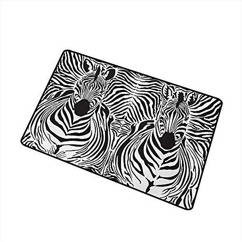 duommhome Door mat Customization Zebra Print Illustration Pattern Zebras Skins Background Blended Over Zebra Body Heads W35 xL59 - Shoe Bobs Zebra