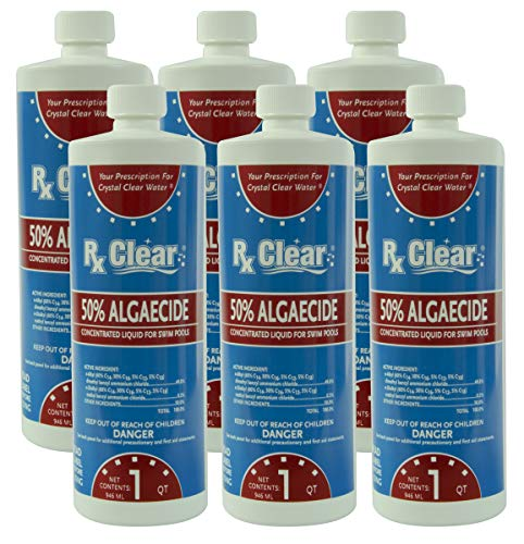 Rx Clear Swimming Pool Algaecide 50 Plus | Above or Inground Pools | Keeping Algae in Suspension | One Quart Bottles | 6 Pack