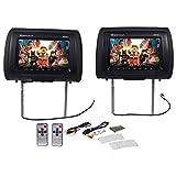 Pair Rockville RHP91-BK 9 Digital Panel Black Car Headrest Monitors w/ Speakers