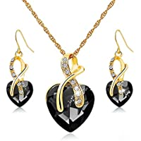 Morenitor Wedding Jewelry Set with Love Crystal Necklace and Earrings for Bridesmaids (Black)