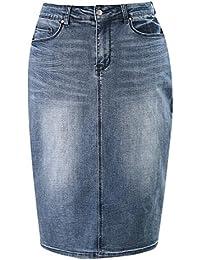 Women's Plus Size High Waist Stretchy Pencil Denim Midi Skirt