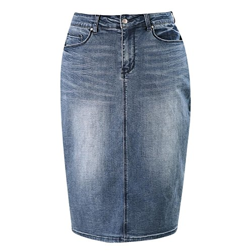 - MSSHE Plus Size Knee Length Denim Pencil Skirts for Women 20W