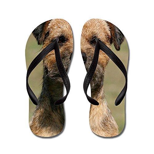 Cafepress Border Terrier 9y325d-038 - Flip Flops, Roliga Rem Sandaler, Strand Sandaler Svart