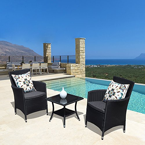 Discount Wicker Furniture - PATIOROMA 3PC Patio Outdoor Rattan Furniture Set Cushioned Garden Table and Chairs with Gray Cushions, Black PE Wicker