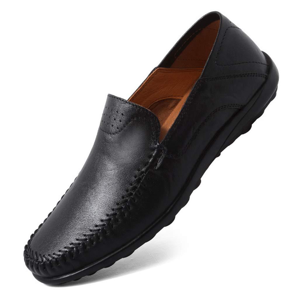 Qiusa Slip-on Echtes Leder Schuhe für Männer Weiche Sohle Rutschfeste Casual Fahr Schuhe (Farbe : Khaki, Größe : EU 39) Schwarz