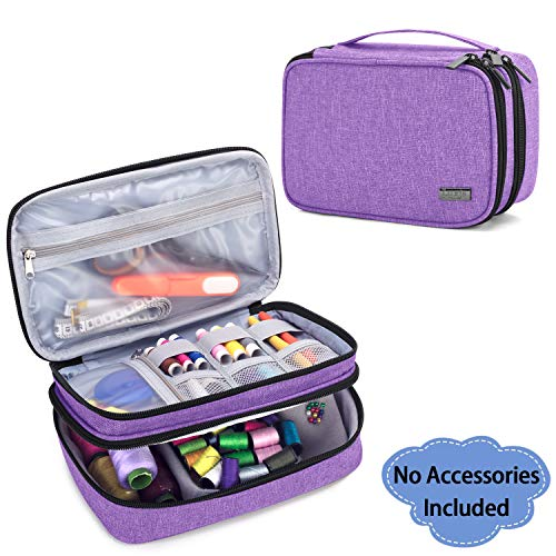 Luxja Sewing Accessories Organizer, Double-Layer Sewing Supplies Organizer for Needles, Scissors, Measuring Tape, Thread and Other Sewing Tools (NO Accessories Included), Medium/Purple