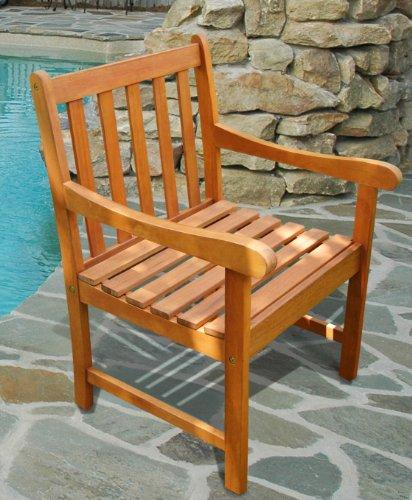 Vifah V415 Outdoor Wood Arm Chair Natural Wood Finish 22