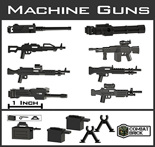 CombatBrick Custom Modern War Machine Guns - Toy Accessories 1-2 Scale Pack Designed for Lego Minifigures