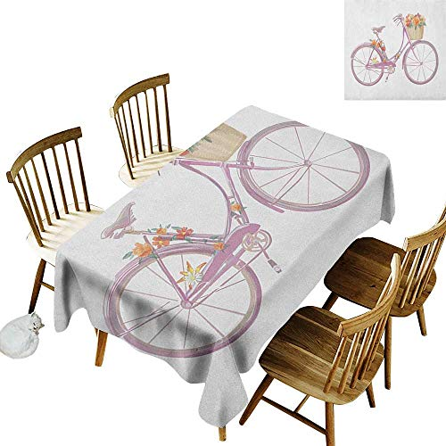 Pink Shower Bridal Damask (kangkaishi 3D Printed Long Tablecloth Desktop Protection pad Watercolor Illustration of a Pink Bicycle with Flowers Romantic Vintage Artistic W60 x L102 Inch Multicolor)
