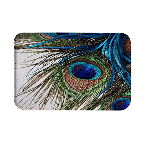 QiyI Bath Rugs for Bathroom Non Slip Super Soft Absorbent Machine Washable Carpet Mats for Tub, Office Door Mat, Kitchen Dining Living Hallway 16 x 24 - Peacock Feather