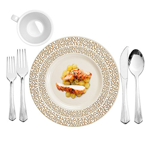 Party Bargains Ivory Gold 240 Round Plastic Plates & 480 Upscale Collection Cutlery | Lace Collection China Like Gold border Plate and Elegant Silverware - 720 Pcs | Combo Pack for 120 People ()